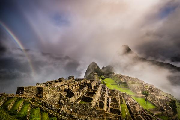 A double rainbow appears over Machu Picchu, Peru. © Joseph Roybal