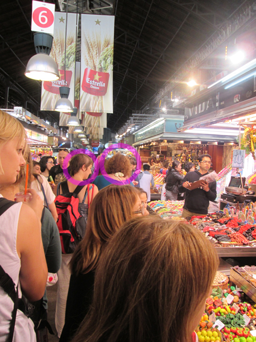 Barcelona market with photographer's family. © Ron Tocknell