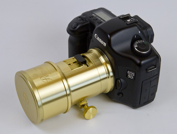 The Petzval lens mounted on a Canon 5D.