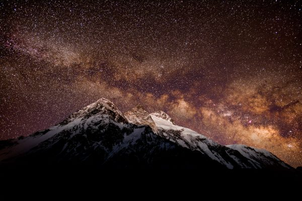 """When you are this remote, the first thing you notice is the night sky illuminated with no light pollution. This beautiful scenery is what were people used to seeing centuries ago! This is Broad Peak (8,051 m) shot by Petr directly from the K2 base camp. Petr used a special camera for night shooting to capture the Milky Way and the starlit sky.""  Shot with a Nikon D810A with Nikon 20/1.8 lens."