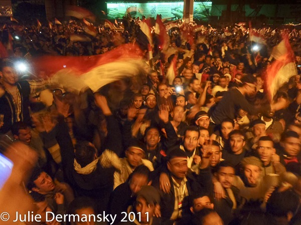 Tahrir Square in Cairo after Egyptian Vice President Omar Suleiman stated Hosni Mubarak's stepped down. Photo by Julie Dermansky.