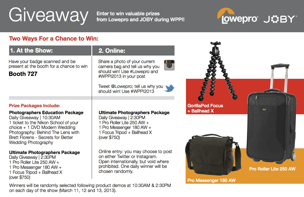 Lowepro Celebrates WPPI with Big Daily Giveaway