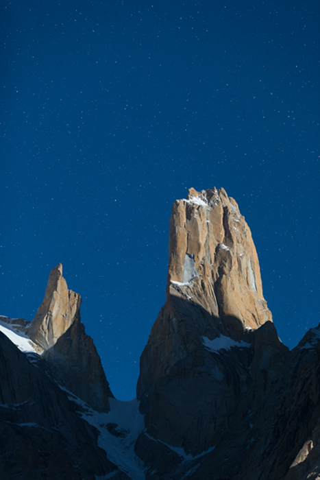Nameless Tower an night, Trango Group, Karakoram Mountains, Pakistan. © Colin Prior