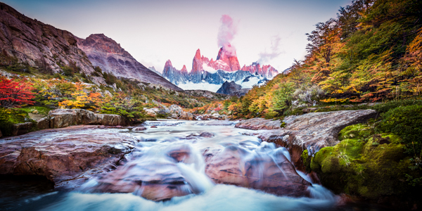 Fall color blankets Patagonia's rugged landscape; Patagonia, Argentina. © Joseph Roybal