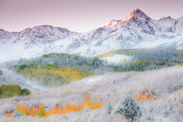 Sunrise Illuminates the Peak &copy: Joseph Roybal and Snow; Mount Sneffels Range, Dal
