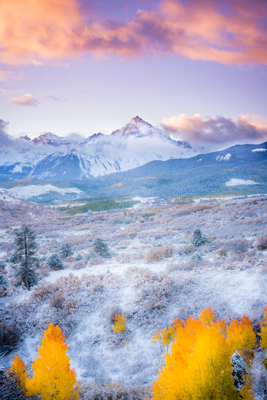 Sunrise and Clouds Light Up at Sunrise with Fall Color; Mount Sneffels Range. © Joseph Roybal