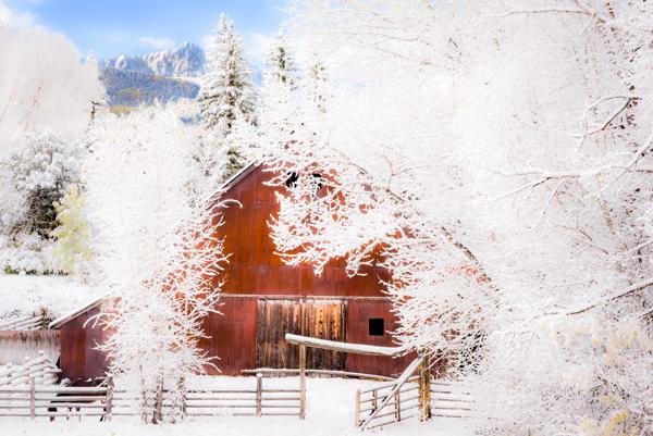 Snow Blankets Ralph Lauren's Double RL Ranch; Mount Sneffels Range. © Joseph Roybal