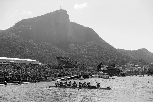 A scenic view as US Rowing women's eight win their third consecutive gold.